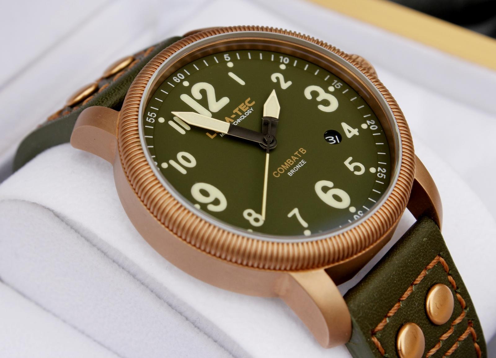 Bronzové hodinky Lum Tec B19 - matný cínový bronz – nové (nenošené) hodinky. 8a8dc6d9b1