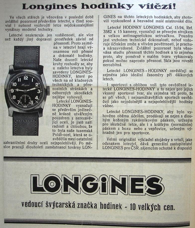 Dobová reklama na Longines. Za zmínku stojí použití československé oceli  Poldi. 3e5b4392b7f