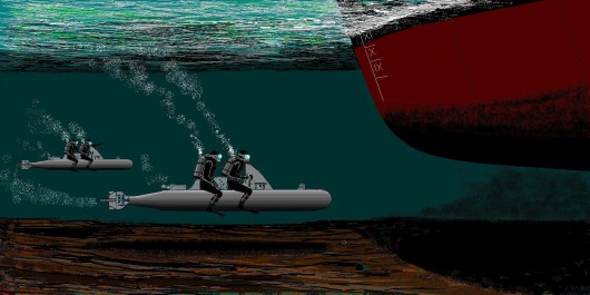 Znázornění diverzní akce italských potápěčů