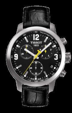 Tissot PRC 200 s chronografem, černým číselníkem a žlutými ručičkami v současné verzi.
