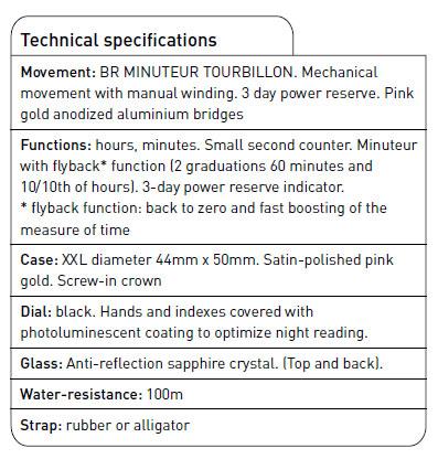 BBell & Ross MINUTEUR tourbillon technická specifikace