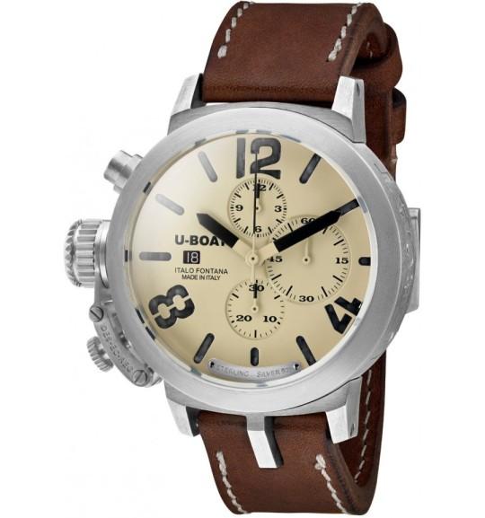 U-Boat Classico Chrono Sterling Silver 925 7452 48mm - jedny z mála současných náramkových hodinek se stříbrným pouzdrem (všimněte si nápisu u indexu 6 hodin). Zdroj: www.signstimepieces.com